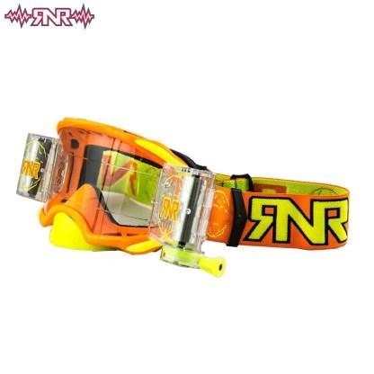 RNR Rip n Roll Adult Platinum Wide Vision Roll Off Goggles Neon Orange Adult