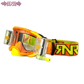RNR Rip n Roll Adult Platinum Wide Vision Roll Off Goggles Neon Orange Adult