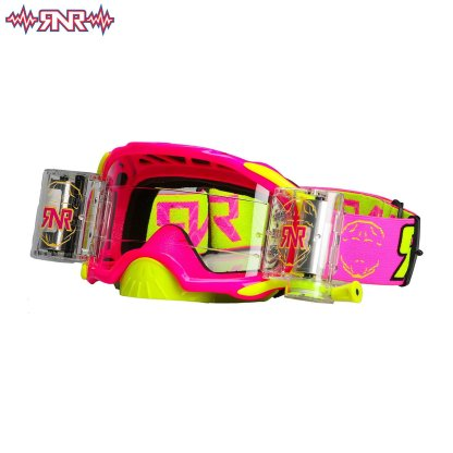 Rnr Rip n Roll Adult Platinum Wide Vision Roll Off Goggles Neon Pink
