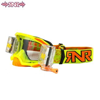 RNR Rip n Roll Adult Platinum Wide Vision Roll Off Goggles Neon Yellow
