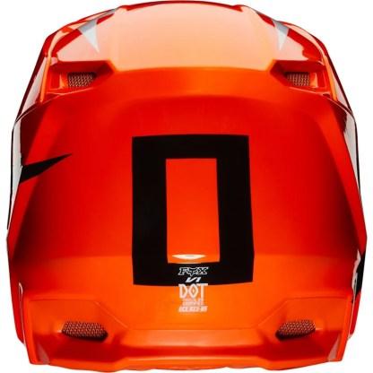 Fox V1 Werd Helmet Fluorescent Orange Adult Rear
