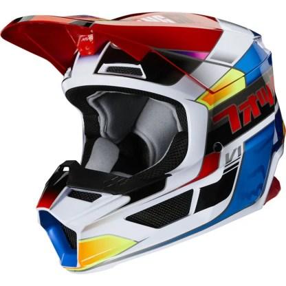 Fox V1 Yorr Helmet Blue/Red Youth Side