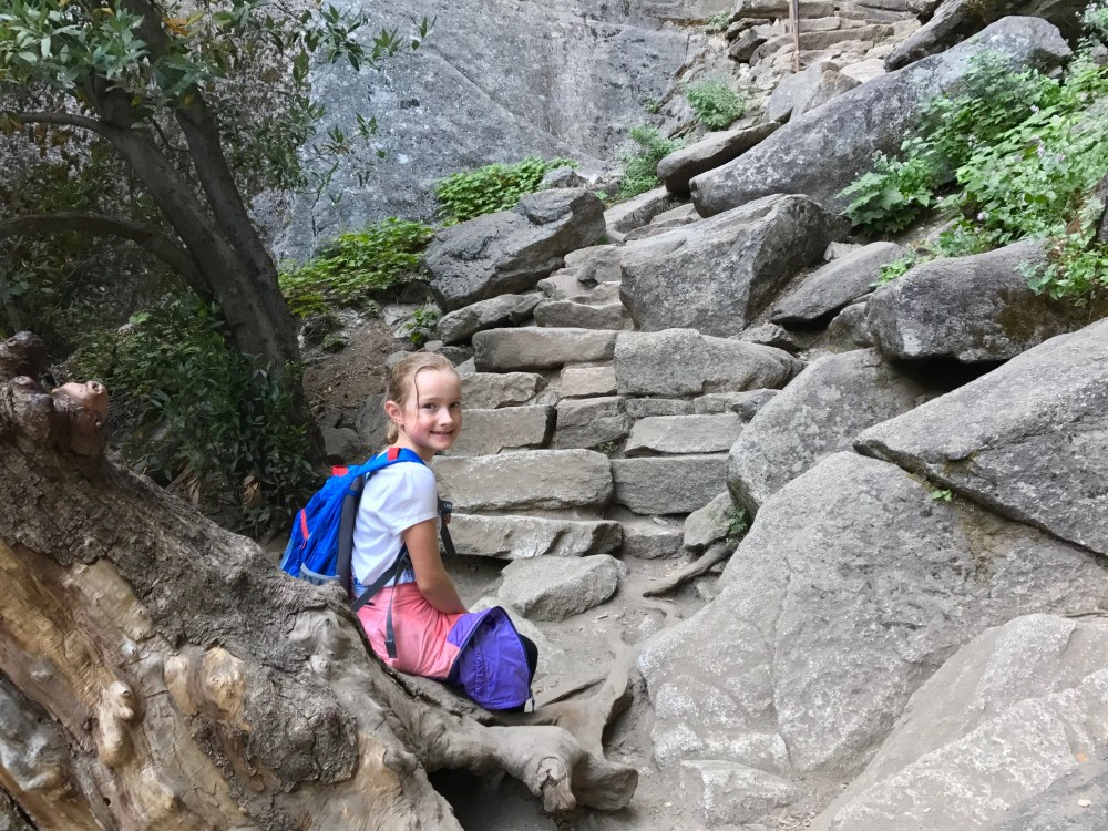 Our younger daughter resting before the final few steps to the top of Vernal Fall