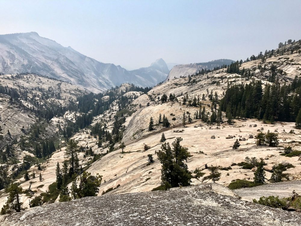View from Olmsted Point near Tioga Road with the back of Half Dome