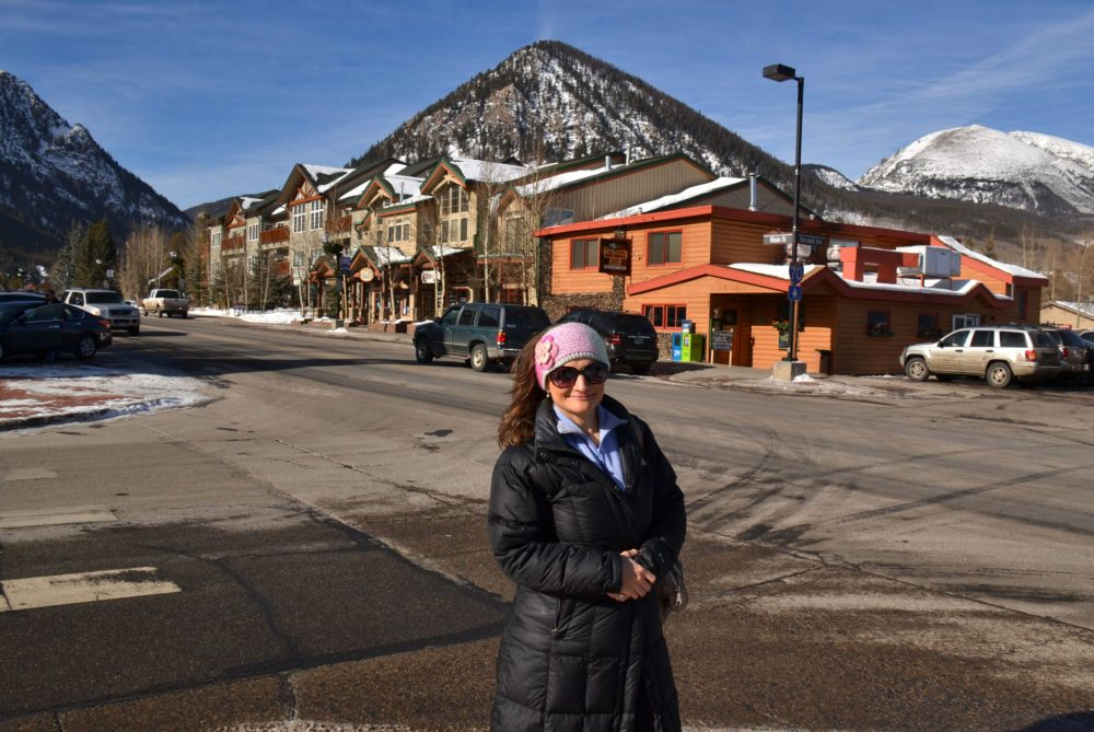 Standing in downtown Frisco, Colorado