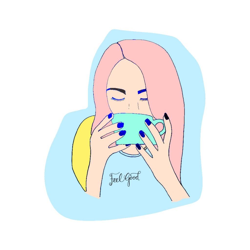 Hand drawn lady drinking from a big mug