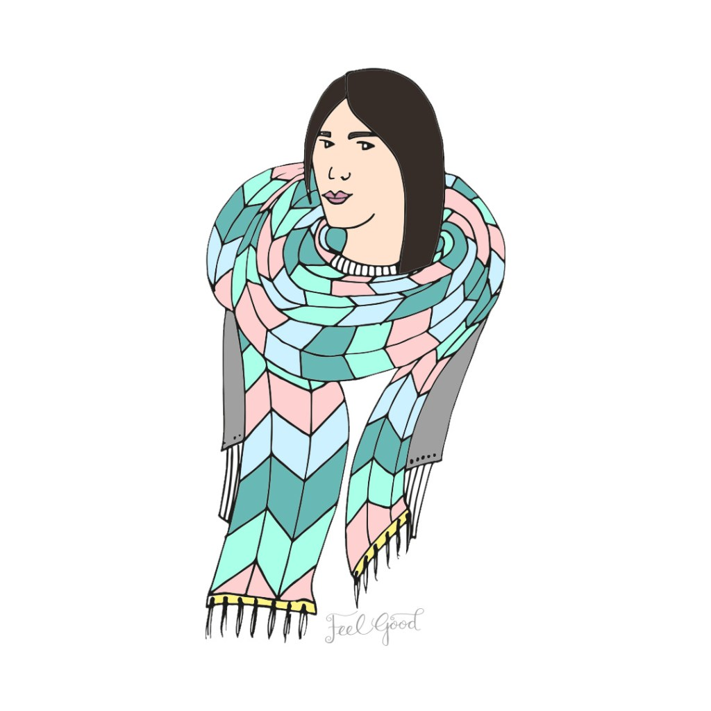Hand drawn lady wrapped in multicoloured scarf