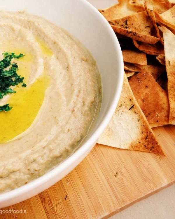 Creamy dreamy Baba Ghanoush Eggplant Dip with Pita Chips made with oven-roasted eggplant, lemon juice, tahini & garlic - a great alternative to hummus!