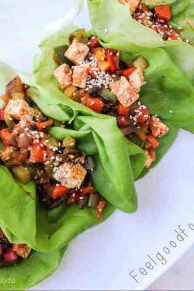 These Honeyed Chinese Chicken Wraps are loaded with savory stir-fry chicken and colorful veggies - a low-carb easy weekday meal!