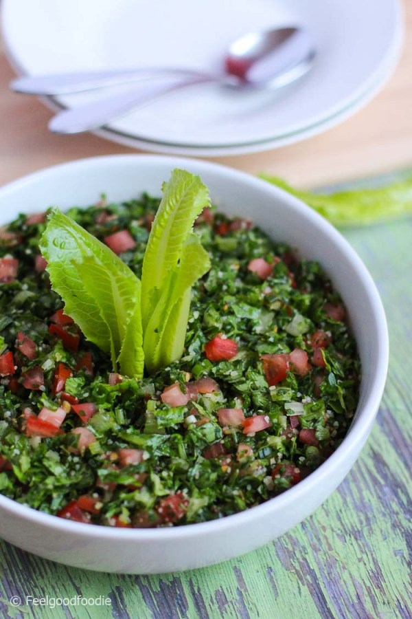 This traditional Lebanese Tabbouleh Salad recipe is a fresh Mediterranean appetizer made with bulgur, parsley, mint and very finely chopped vegetables