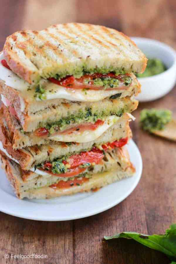 Homemade Grilled Mozzarella Sandwich with Pesto and Tomato that's easy to assemble and bursting with flavor - lunch never looked so good!