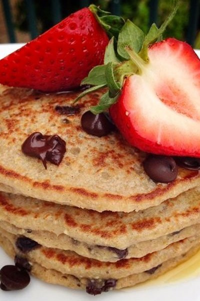 Chocolate Chip Banana Oat Pancakes