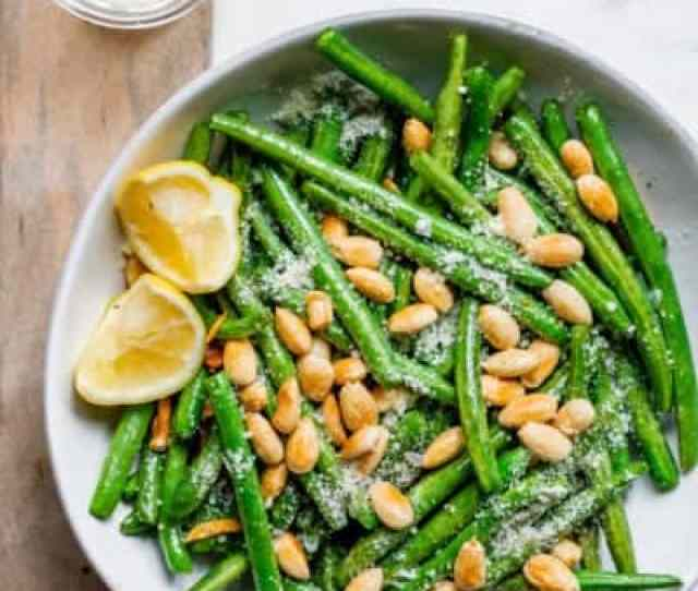 Large Plate Of Green Beans With Almonds Thanksgiving Side Dish