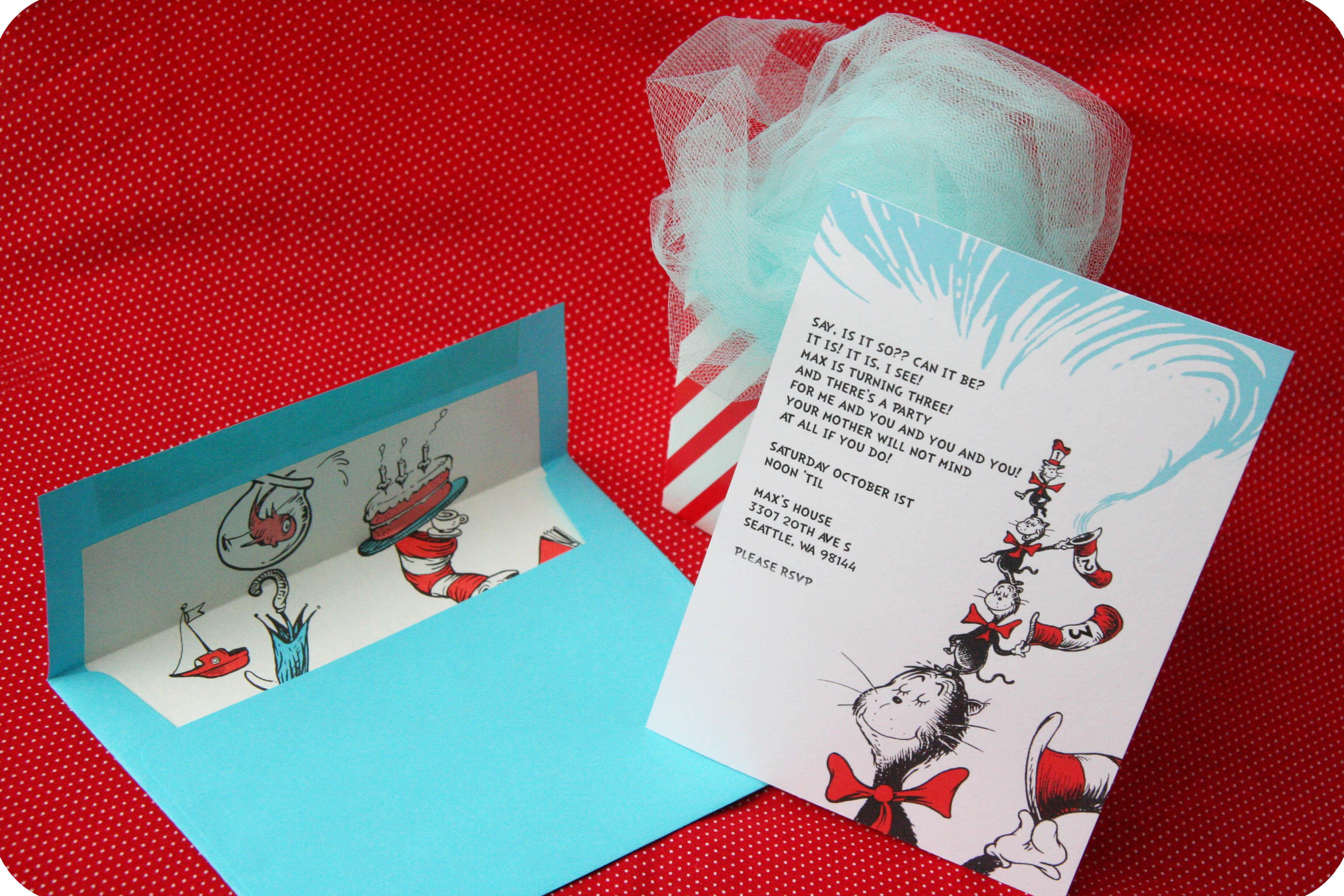 Dr Seuss Party Series Invites