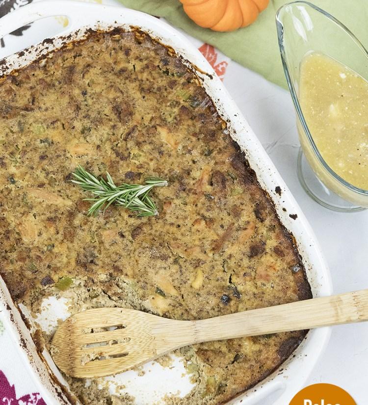 Gluten Free Paleo Cornbread Thanksgiving Dressing and Giblet Gravy