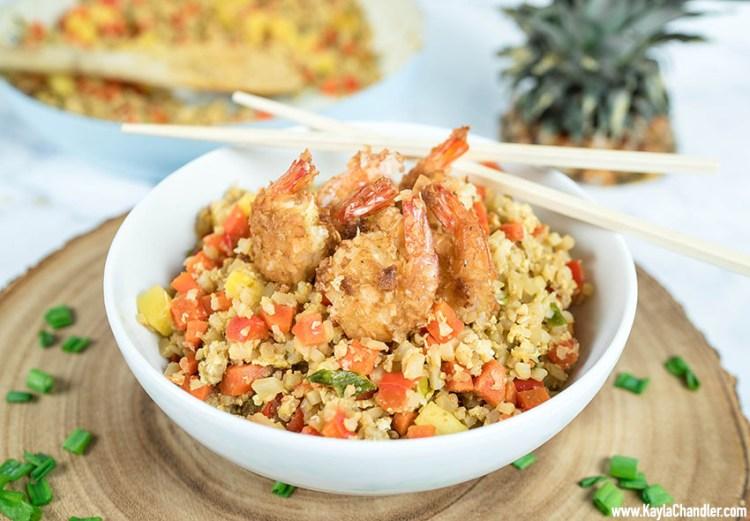 Low Carb Keto Coconut Shrimp Fried Cauliflower Rice | Keto Dinner