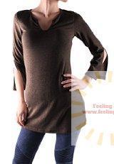 LeggingsQueen Slit Neck Half Sleeve Basic Tunic Top