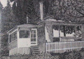 Cottage Ink Art Sketch