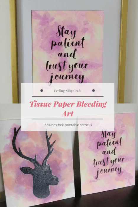 easy diy craft tissue paper bleeding art with free printable stencils