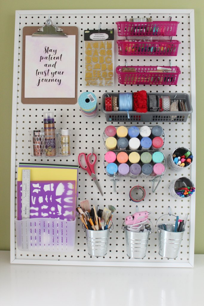 Diy Pegboard For Craft Room With Dollarstore Accessories Ikea Hack