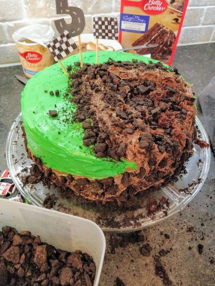 monster truck birthday cake round
