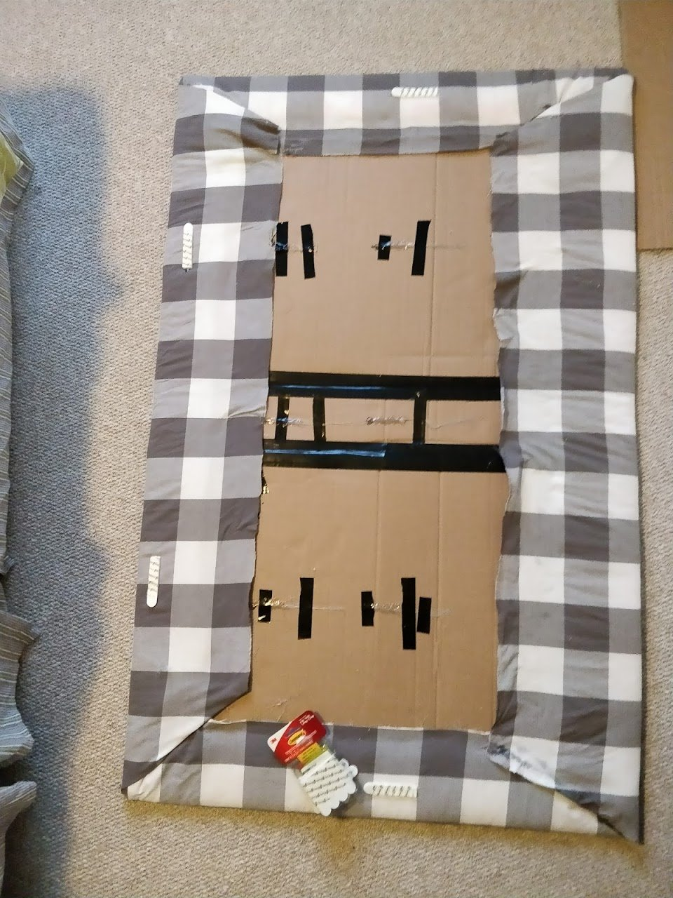 DIY headboard how to hang on wall with command strips