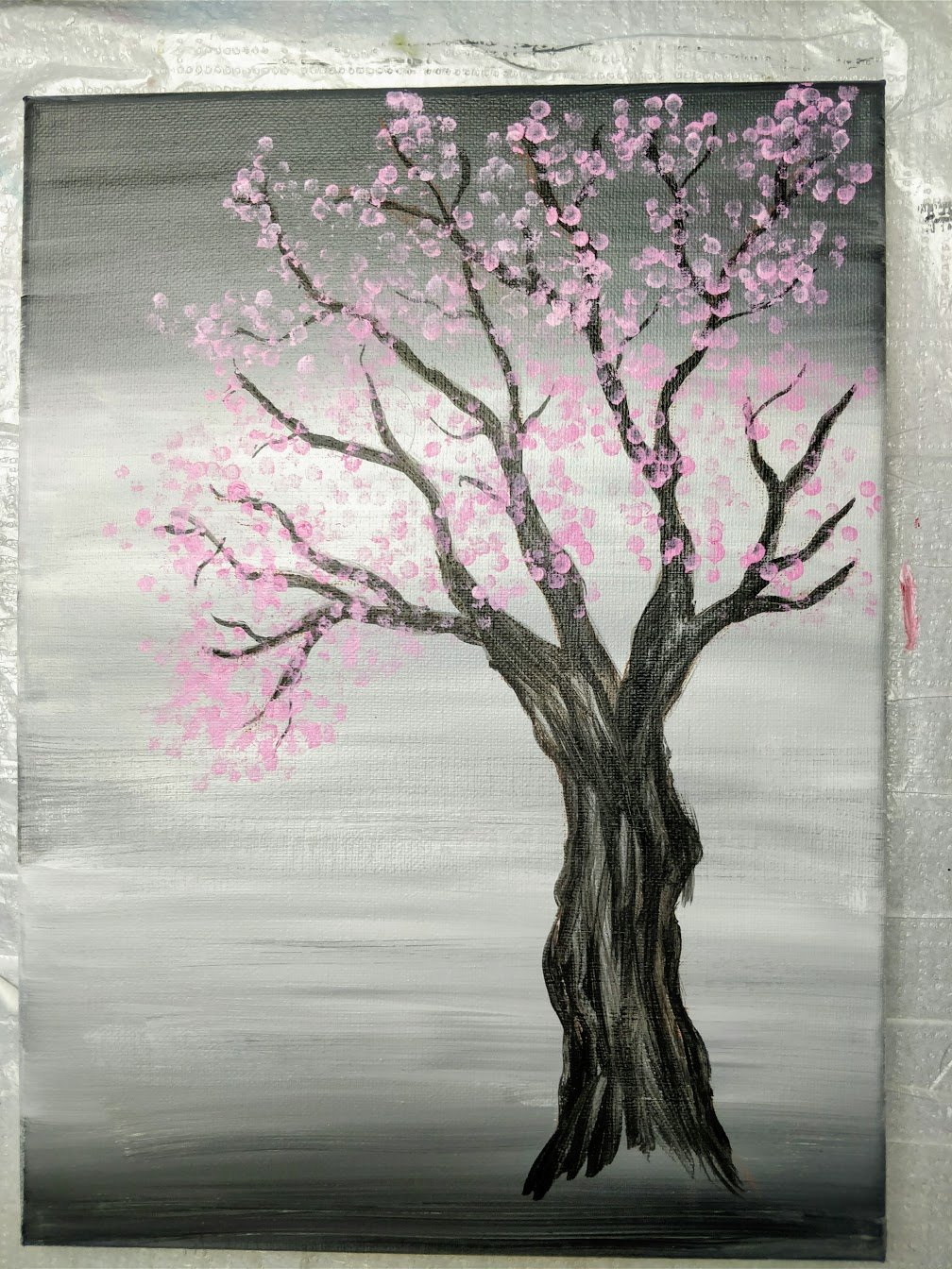 cherry blossom tree acrylic painting tutorial