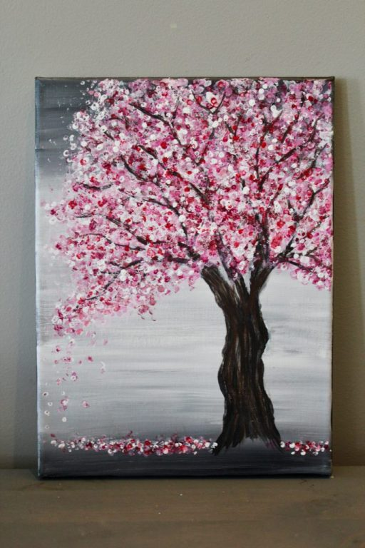 cherry blossom tree painting easy