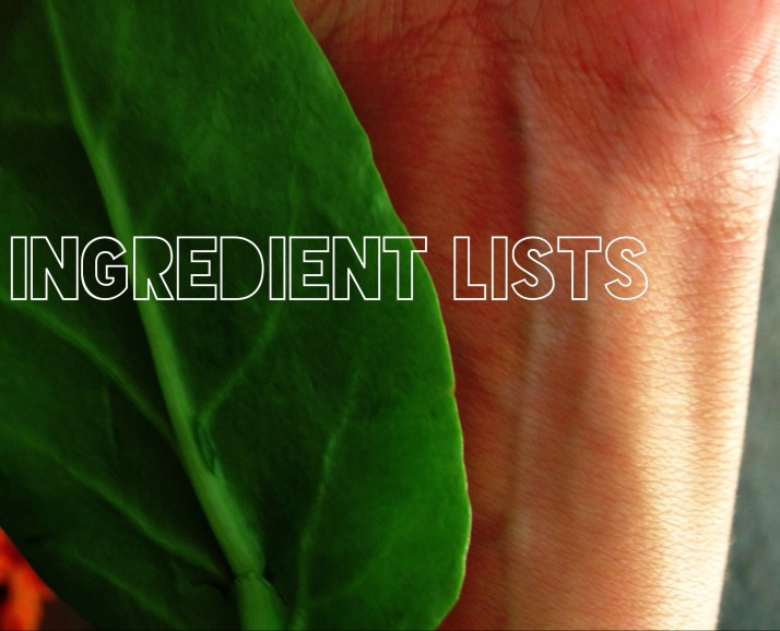 ingredient lists beauty chemicals