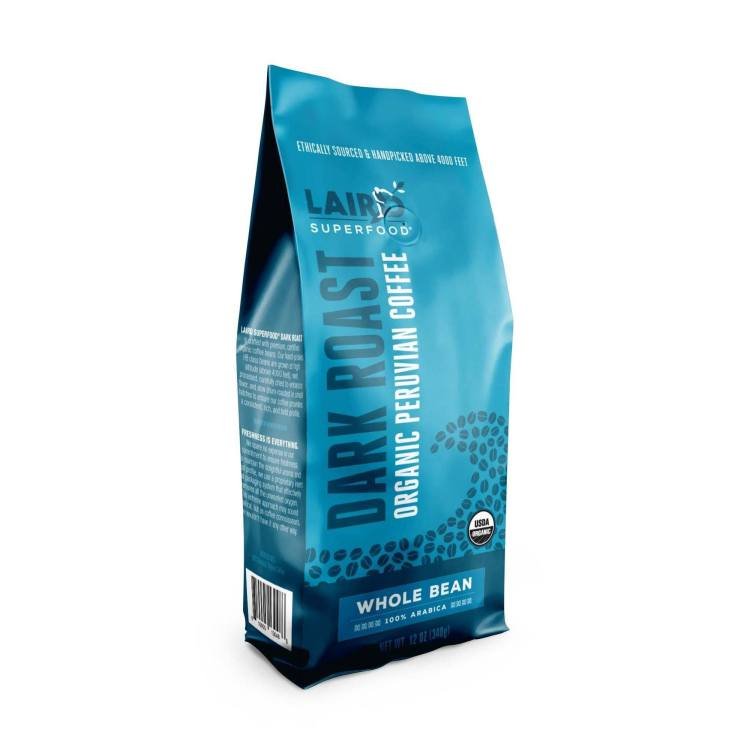laird superfood whole bean dark roast coffee