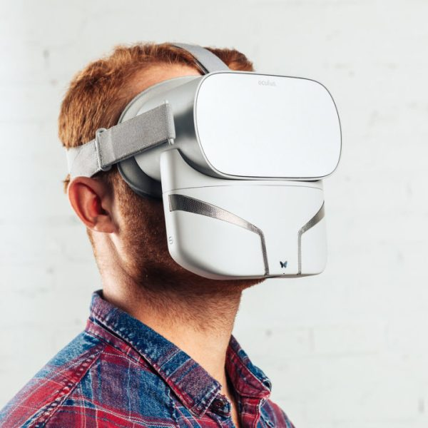 Man in Oculus Go Headset with Feelreal Multisensory VR Mask