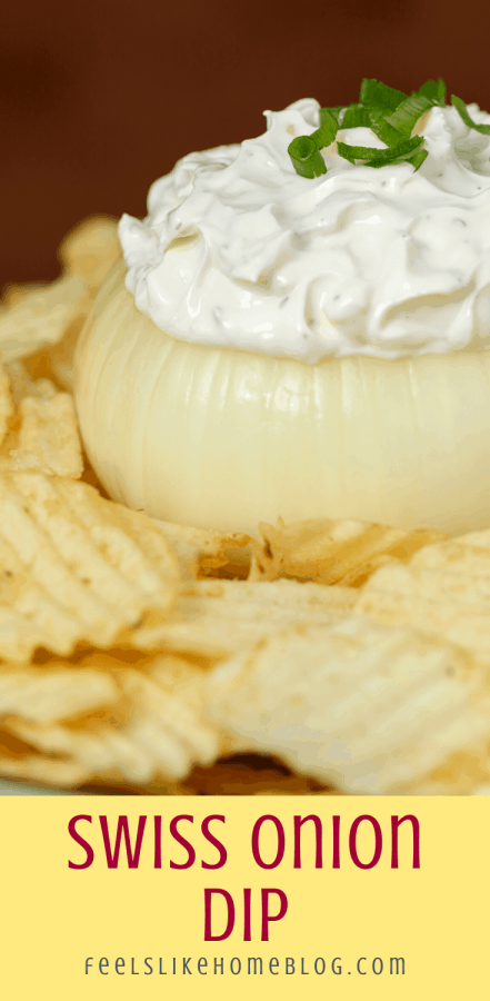 an onion bowl with swiss cheese dip