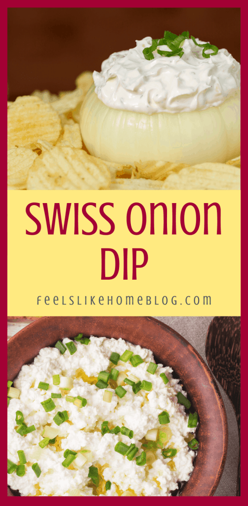 a collage of swiss cheese dip with onions