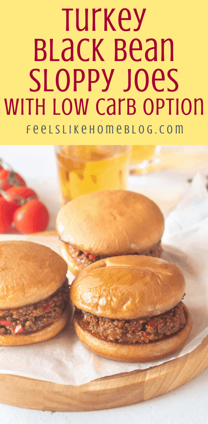 Turkey Black Bean Sloppy Joes with Low Carb Option