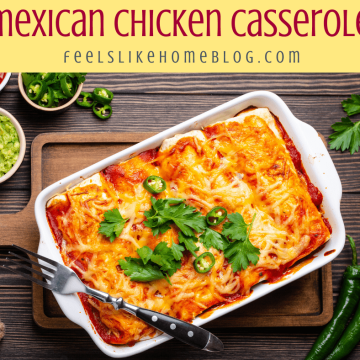Mexican chicken casserole on a wooden table