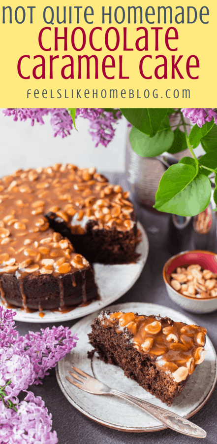 a slice of chocolate cake box mix with caramel
