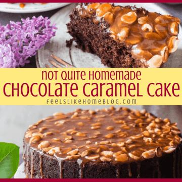 chocolate caramel cake with peanuts