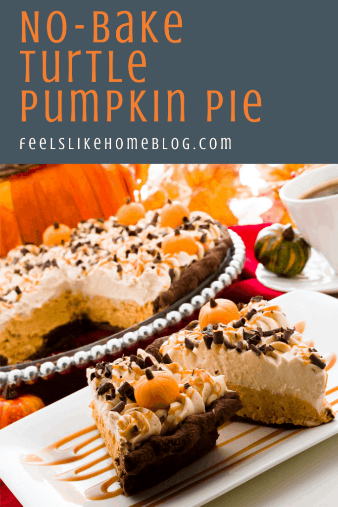 two slices of caramel pumpkin pie with turtle and pecans