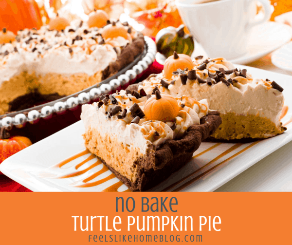 two slices of no bake pumpkin pie