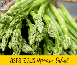 The best asparagus salad recipe with mimosa vinaigrette - This amazing salad starts with roasted asparagus, hard boiled egg, and couscous or pasta (optional). Easy to make gluten-free. Can be served warm or cold. Very low carb.
