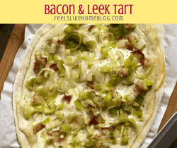 a close up of a bacon and leek tart