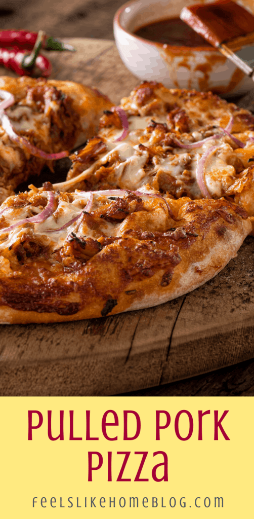 a close up of a pulled pork pizza with BBQ sauce