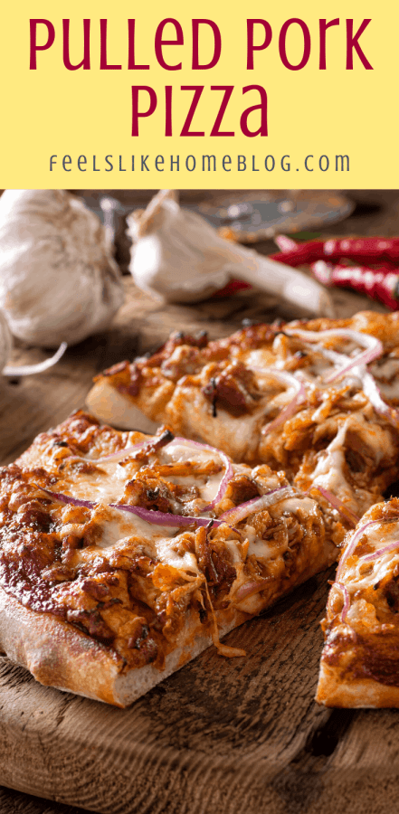 a close up of a pulled pork pizza