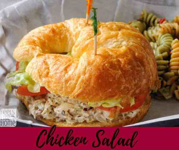 How to make the best homemade simple and easy chicken salad sandwiches - This classic recipe is quick and uses roast, grilled, or rotisserie, or even canned chicken and a mayonnaise and mustard dressing. Low carb recipe.