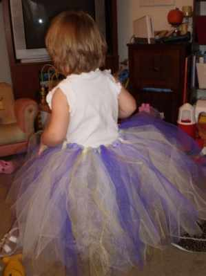 A little girl wearing a big tutu