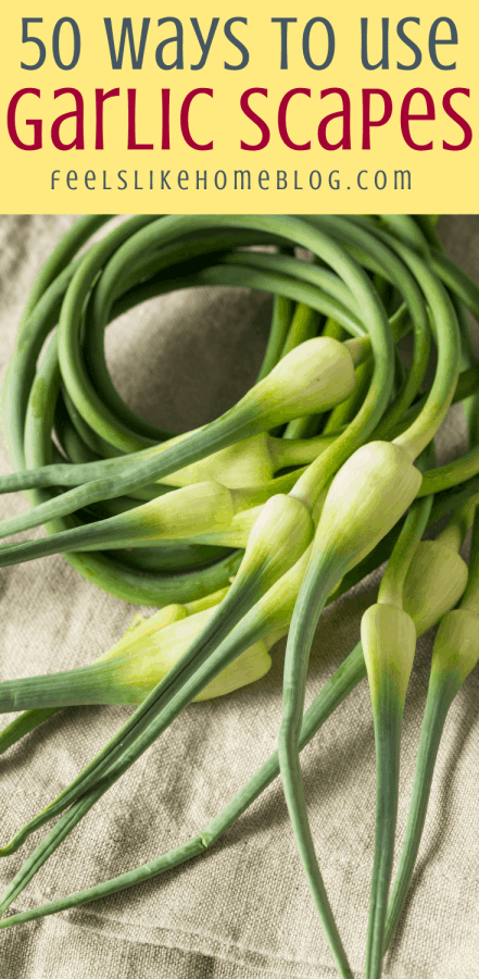 garlic scapes on burlap