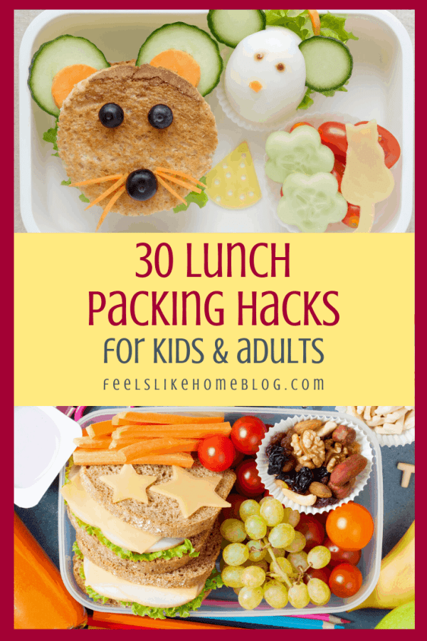 a collage with lunches for kids with shapes and faces