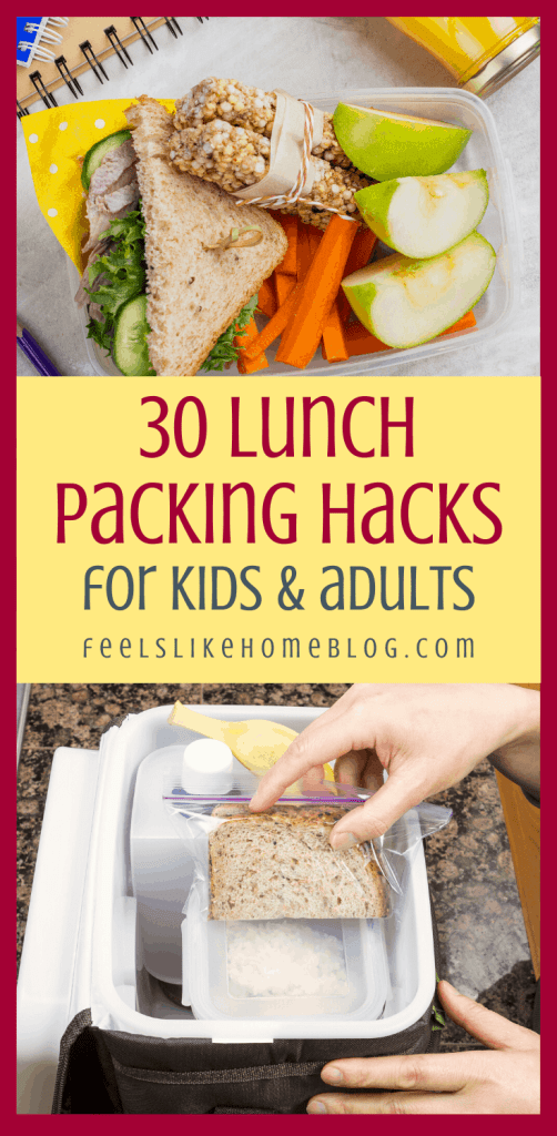 a collage of packed lunches for kids and adults