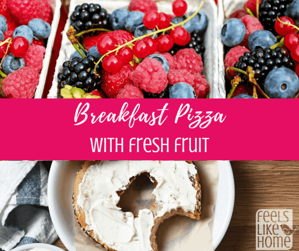 A bunch of different types of fruit and a bagel with cream cheese