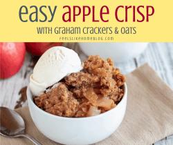 easy apple crisp in a white bowl